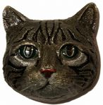 Tabby Cat Belt Buckle + display stand. Code SM6